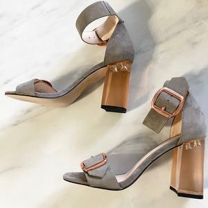 ASOS Grey and Rose Gold Clear Heels size 6